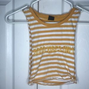 yellow good vibes only workout crop top